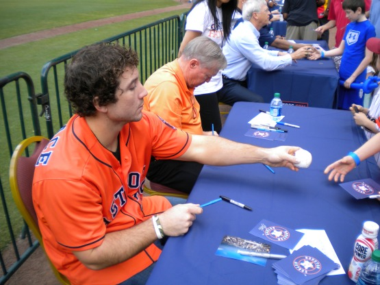 Brett Wallace and former Astros player Carl Warwick.
