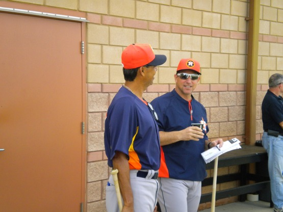Bullpen coach Dennis Martinez and Oklahoma City manager Tony DeFrancesco talk.
