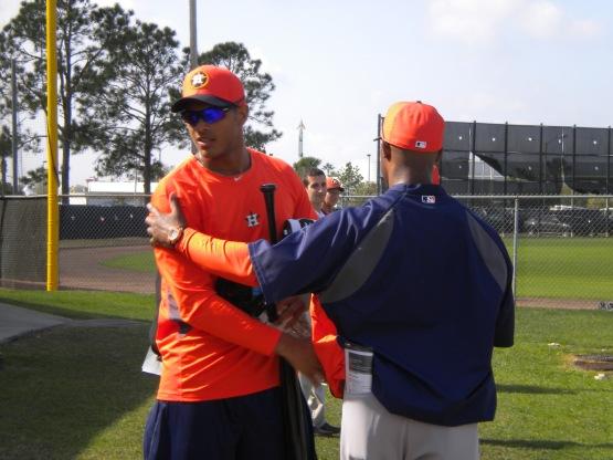Justin Maxwell greets Bo Porter.
