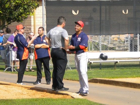 Sergio Escalona is all smiles after throwing first bullpen.