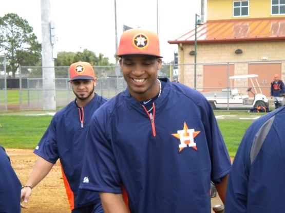 Jimmy Paredes is all smiles as he arrives.