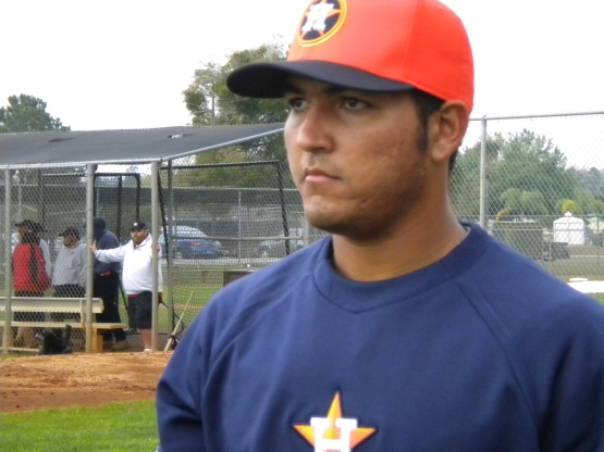 Our first look at catcher Carlos Perez, acquired from Toronto last July.