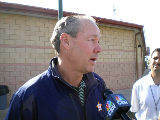 Jim Crane talks to the media.