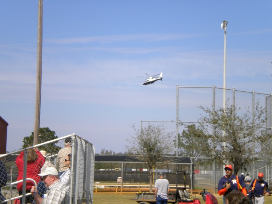 Jim Crane's helicopter takes off.