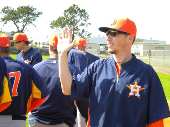 Lucas Harrell looks for someone to high five.