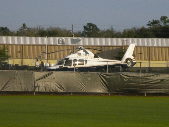 Jim Crane's helicopter sits on Field 5 in Kissimmee.