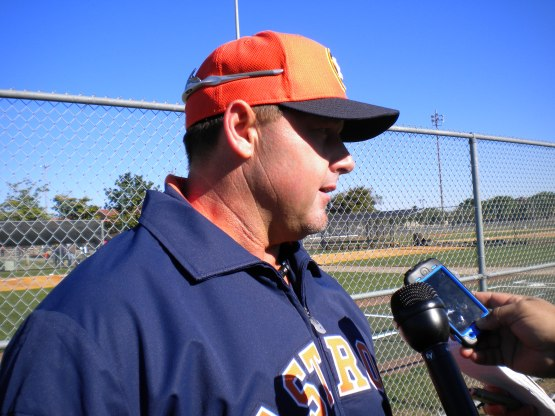 Roger Clemens meets with the media Sunday.