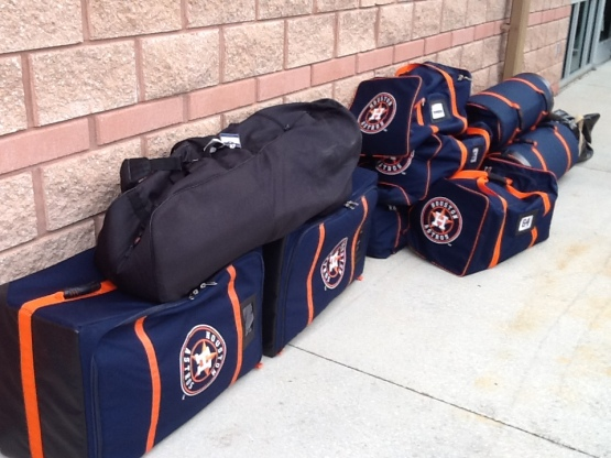 Equipment bags with new logo ready to be stowed.