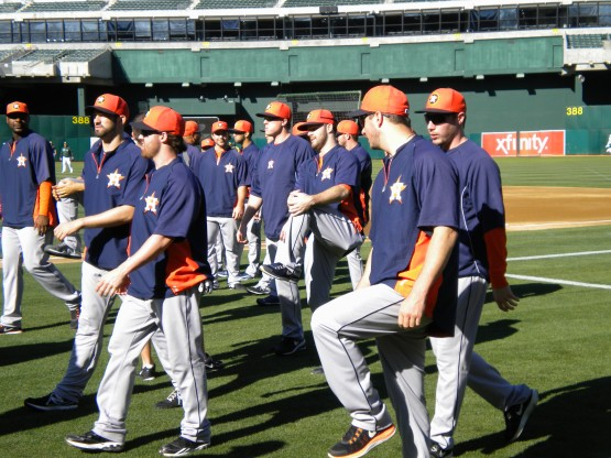 Astros players stretch.